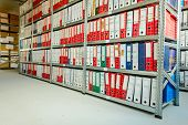 Stacks Of Files And Paperwork Placed In Bookshelves With Folders And Documents In Binders Archive, S poster
