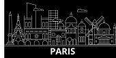 Paris Silhouette Skyline. France - Paris Vector City, French Linear Architecture, Buildings. Paris L poster