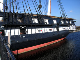 stock photo of uss constitution  - detail of a historic sailing ship named  - JPG