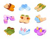 Set Of Home Slippers. Children Cute Slippers In The Form Of A Unicorn, Dinosaur And Rabbit. Home Sho poster