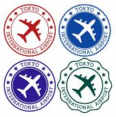 Tokyo International Airport. Tokyo Airport Logo. Flat Stamps In Material Color Palette. Vector Illus poster