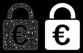 Glowing Mesh Euro Lock Icon With Lightspot Effect. Abstract Illuminated Model Of Euro Lock. Shiny Wi poster