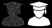 Bright Mesh Knowledge Man Icon With Sparkle Effect. Abstract Illuminated Model Of Knowledge Man. Shi poster