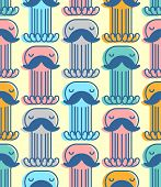 Octopus With Mustache Pattern Seamless. Mustached Poulpe Background. See Animal Vector Texture. Baby poster