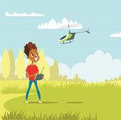 Boy With Rc Helicopter Flat Vector Illustration. Smiling African American Child In Park Cartoon Char poster