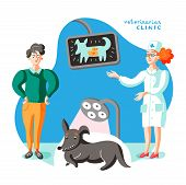 Man With Dog At Veterinary Office Illustration. Doctor X-raying Pet Flat Vector Character. Cartoon N poster