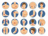 Body Pain Icon. Human Anatomy Parts Shoulders Legs Had Physical Injury Red Pain Dots Vector Pictures poster