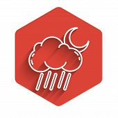 White Line Cloud With Rain And Moon Icon Isolated With Long Shadow. Rain Cloud Precipitation With Ra poster