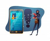 Identity Theft Abstract Flat Vector Illustration. Internet Criminal And Victim Cartoon Characters. O poster