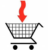 Shopping Cart With Red Arrow