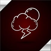 Silver Line Storm Icon Isolated On Dark Red Background. Cloud With Lightning And Sun Sign. Weather I poster