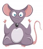 Funny rat. Cartoon mouse.