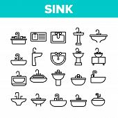 Sink Ceramic Bathroom Collection Icons Set Vector Thin Line. Bath Sink With Faucet, Restroom Hands A poster