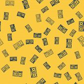 Blue Line Dj Remote For Playing And Mixing Music Icon Isolated Seamless Pattern On Yellow Background poster