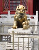 China Forbidden City Ornamental Lioness Guarding Entrance Of Building