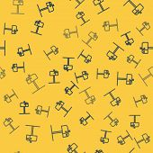 Blue Line Open Mail Box Icon Isolated Seamless Pattern On Yellow Background. Mailbox Icon. Mail Post poster