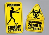 Zombie Outbreak Warning Stickers / Labels