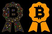 Glossy Mesh Bitcoin Certificate Seal Icon With Glitter Effect. Abstract Illuminated Model Of Bitcoin poster