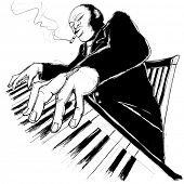 Illustration of a jazz ragtime pianist