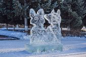 Ice Statue Made Of Ice On A Frosty Winter Day poster