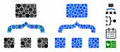 Combine Items Mosaic Of Round Dots In Various Sizes And Color Tints, Based On Combine Items Icon. Ve poster
