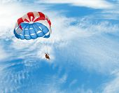 picture of parasailing  - Parasailing under cloudy blue sky at beach - JPG