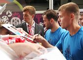 WARSAW, POLAND - JUNE 14: Russian footballers Aleksandr Kerzhakov (Zenit St. Petersburg) and Igor De