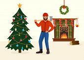 Felled Christmas Tree And Man With Ax In New Year Decorated Room Vector Illustration. poster