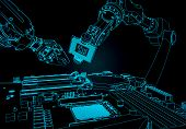 Stylized Vector Illustration On The Topic Of Robotic Systems Of Automatic Assembly. Industrial Robot poster
