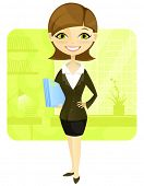 Cartoon Character Business Woman Isolated on White Background. Vector EPS 10.