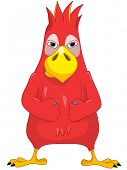 Cartoon Character Funny Parrot Isolated on White Background. Anger. Vector EPS 10.