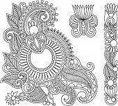 Henna Mehndi Black Flower Doodle Illustration Design