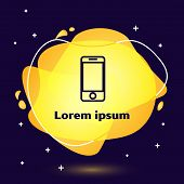 Black Line Mobile Smart Phone With App Delivery Tracking Icon Isolated On Blue Background. Parcel Tr poster