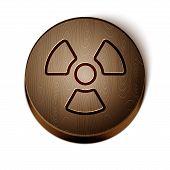 Brown Line Radioactive Icon Isolated On White Background. Radioactive Toxic Symbol. Radiation Hazard poster