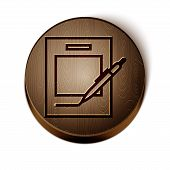 Brown Line Blank Notebook And Pen Icon Isolated On White Background. Paper And Pen. Wooden Circle Bu poster