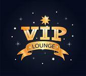 Vip Lounge Lettering Phrase, Sticker, Logo. Creative Composition poster