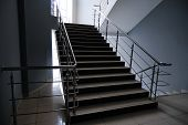 An Empty Staircase In A College, School, Office Building, Or Shopping Center. poster
