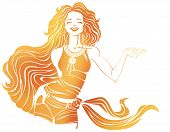 Smiling Pretty Girl In T-shirt, Shorts And Scarf On Hip. Makes Hand Gesture Of Invitation
