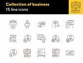 Collection Of Business Training Icons. Men In Vr Glasses, Training On Screen, Sandglass. Training Co poster