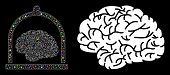 Glossy Mesh Brain Conservation Icon With Glare Effect. Abstract Illuminated Model Of Brain Conservat poster