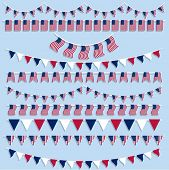 Collection of American flag bunting and pennants