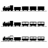 stock photo of train-wheel  - train vector illustration black silhouette on white - JPG