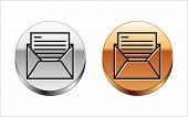 Black Line Mail And E-mail Icon Isolated On White Background. Envelope Symbol E-mail. Email Message  poster