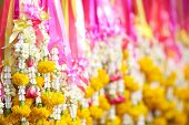 Flower garlands in Thai style used offering to buddha