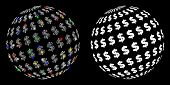 Glowing Mesh Dollar Abstract Sphere Icon With Glitter Effect. Abstract Illuminated Model Of Dollar A poster