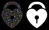 Flare Mesh Love Heart Lock Icon With Glow Effect. Abstract Illuminated Model Of Love Heart Lock. Shi poster