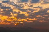 Beautiful Sunrise On Mountain. Sky And Cloudscape At Sunrise. Sunrise In Thailand. poster