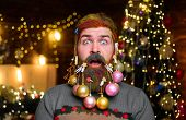 Happy New Year. Christmas Beard Decorations. Surprised Santa Man With Decorated Beard. New Year Part poster