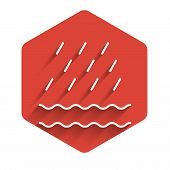 White Line Rain And Waves Icon Isolated With Long Shadow Background. Rain Cloud Precipitation With R poster