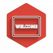 White Line Doormat With The Text Welcome Icon Isolated With Long Shadow. Welcome Mat Sign. Red Hexag poster